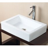 "7.50"" x 24.43"" Rectangle Ceramic Vessel Sink without Overflow in White"