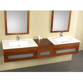 "81""  Wall Mount Drawer Bridge Bathroom Vanity"