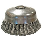 "Knot Wire Cup Brushes-Single Row-US Series - us6 .020x6-1/4"" cup brush carbon wire"