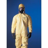 Yellow Tychem® QC Chemical Protection Coveralls With Bound Seams, Front Zipper Closure, Attached Hood, Elastic Face, Elastic Wrists And Elastic Ankles