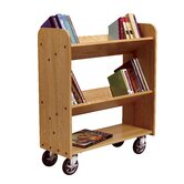 Solid Oak Book Truck With 2 Sloped &amp; 1 Flat Shelf
