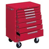 Industrial Series Roller Cabinets - 10146 roller cabinet 7 drawer smooth red