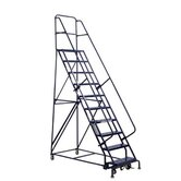 "GSW Series Steel Rolling Warehouse Ladder w/ Handrails - 10' 3-1/2"" warehouse ladder"