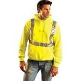 Hi-Viz Yellow Cotton/Polyester ANSI Class 2 Light Weight Hooded Pullover Sweatshirt