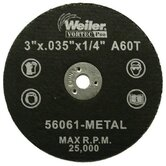 Weiler - Vortec Pro Small Type 1 Reinforced Wheels 3&quot; X .035&quot; Type 1 Cut-Off Wheel A60T: 804-56061 - 3&quot; x .035&quot; type 1 cut-off wheel a60t