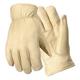 Medium Bucko Grain Cowhide Fleece-Over-Foam Lined Gunn Cut Drivers Gloves With Keystone Thumb, Double Shirred Wrist And Self Hemmed