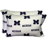 Michigan Wolverines Pillow Case Set in White