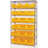 "Q-Stor 7 Shelf Unit with Magnum Bins (74"" H x 42"" W x 18"" D) with Optional Mobile Kit"
