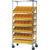 "21"" Slanted Wire Pick Racks Storage Unit with Euro Drawers and Optional Mobile Kit"