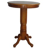 Florence Pedestal Pub Table in Brush Oak