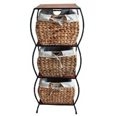 Rattan Three Drawer Storage Cabinet