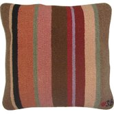 "Yipes Stripes Square: 18"" x 18"" - Brown Pillow"