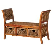 Water Hyacinth Three Drawer Water Hyacinth Bench