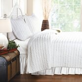 Ruffled Quilt Set in White
