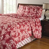 Mandarin 4 Piece Quilt Set in Red