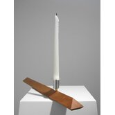 No.3 Cherry Wood, Silver Plated Aluminum Candlestick