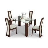 Mistral 4 Chair Glass Dining Set with Walnut