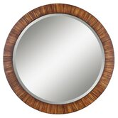 Jules Round Mirror in Antiqued Zebrano Veneer