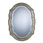 Fifi Oval Beveled Mirror in Antique Silver