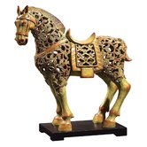 Chunar Horse Sculpture Sculpture in Soft Cinnamon Red and Verde Patina