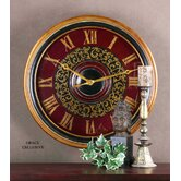 Natara Clock in Aged Black Antique Gold and Deep Red