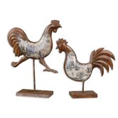 Country Chickens Statue in Brown Rust (Set of 2)