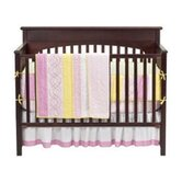 Girls Stripes and Plaids 4 Piece Crib Bedding Set in Pink / Green / Yellow