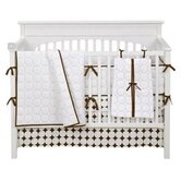 Quilted Circles 3 Piece Crib Bedding Set in White and Chocolate