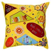 "Sunshine 16"" x 16"" Embroidered Pillow in Yellow"