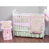 Flower Basket Pink and Green Crib Bedding Collection