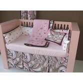 Retro Flowers Pink and Chocolate Crib Bedding Collection
