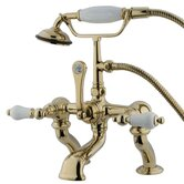 Hot Springs Double Handle Deck Mount Clawfoot Tub Faucet Trim Porcelain Lever Handle