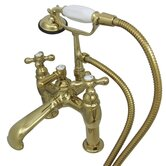 Hot Springs Double Handle Deck Mount Clawfoot Tub Faucet Trim Metal Cross Handle