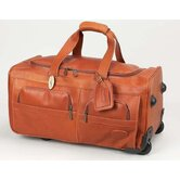 "22"" Leather 2-Wheeled Carry-On Duffel"