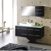 "Ultra Modern Ceanna 55"" Wall Mounted Single Bathroom Vanity Set in Espresso"