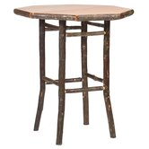 Hickory Pub Table and Upholstered Seat Barstool Set