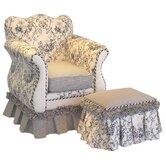 Toile Empire Child's Club Chair and Ottoman Set