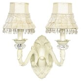 Turret Wall Sconce with Ivory Skirt Dangle Shade