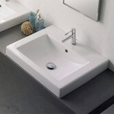 Square Built-In Bathroom Sink in White