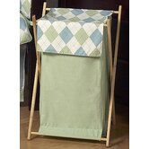 Blue and Green Argyle Laundry Hamper