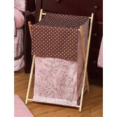 Pink and Brown French Toile and Polka Dot Laundry Hamper