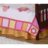 Butterfly Pink Orange Toddler Bed Skirt