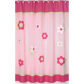 Flower Pink and Green Shower Curtain