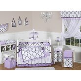 Princess Black, White and Purple Collection 9pc Crib Bedding Set