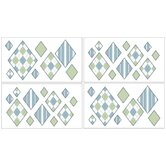 Argyle Green Blue Collection Wall Decal Stickers