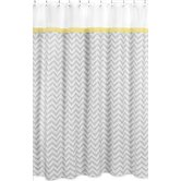 Zig Zag Yellow and Gray Collection Shower Curtain