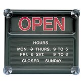 "Open/Closed Sign, 318 Characters for Custom Msgs, 14""x12"", Black"