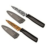 Colori Safari 2 Piece Paring Knife Set in Zebra and Leopard