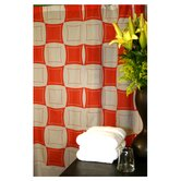 Monogram Shower Curtain in Coral and White