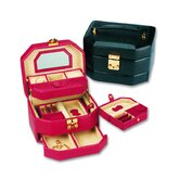 Lizard Grain Ladies Calf Jewelry Box in Red